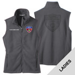 L219 - S141E001 - EMB - Ladies Fleece Vest with Laser Etch Back